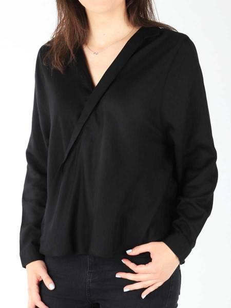 Damenhemd Wrangler L/S Wrap Shirt Black W5180BD01