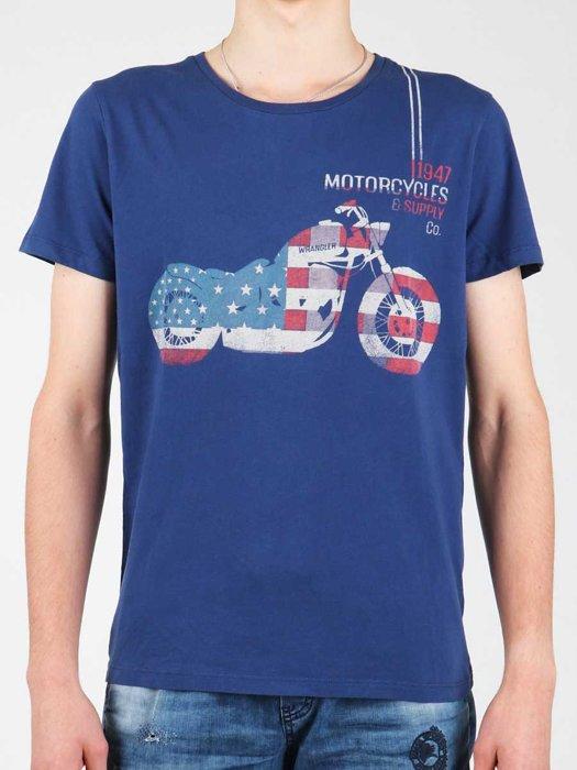 T-Shirt Wrangler S/S Biker Flag Tee W7A53FK 1F