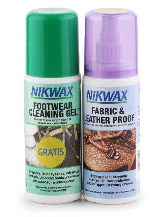 Zestaw Nikwax Impregnat do obuwia Fabric & Leather Proof 125ml/ Nikwax środek czyszczący Footwear Cleaning Gel 125ml